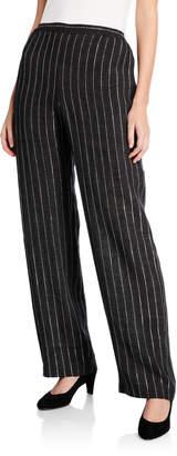 eskandar Delave Linen Striped Straight Leg Pants