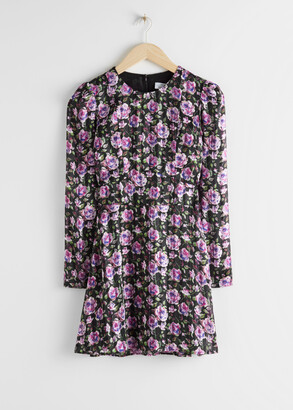 And other stories Tailored Rose Print Mini Dress