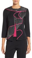 Ming Wang Women's Asymmetrical Embroidered Knit Jacket