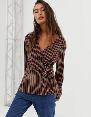 Blend She Beneto stripe wrap blouse-Red