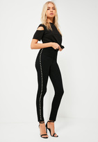 Missguided Black High Rise Studded Skinny Jeans