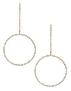 Ettika Crystal Gold Linear Circle Drop Earring
