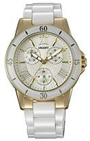 Orient Women's 38mm White Ceramic Band Steel Case Quartz Beige Dial Analog Watch FUT0F003S