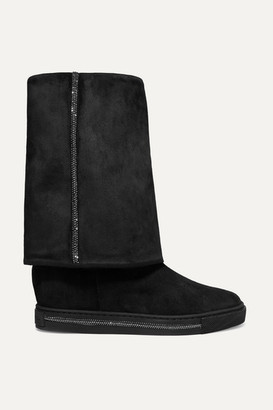 Rene Caovilla Crystal-embellished Suede Wedge Boots - Black