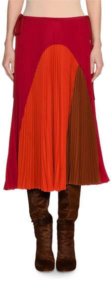 Agnona Colorblock Pleated Midi Skirt