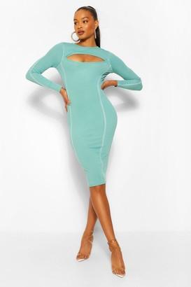 boohoo Contrast Stitch Rib Cut Out Bodycon Midi Dress