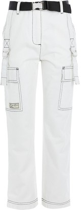 River Island Girls white contrast stitch belted trousers