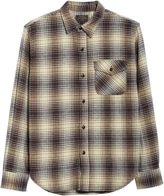 Beams Guide Herringbone Check Cotton Flannel Shirt