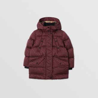 Burberry Childrens Detachable Hood Monogram Jacquard Puffer Coat
