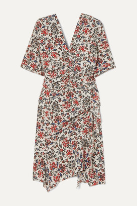 Isabel Marant Arodie Ruched Floral-print Silk-blend Crepe Dress - Red