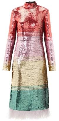 La DoubleJ Feather-trim Sequinned Dress - Pink Multi
