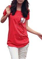 Allegra K Women Scoop Neck Short Sleeve Tee Novelty Prints Summer Tops T Shirts