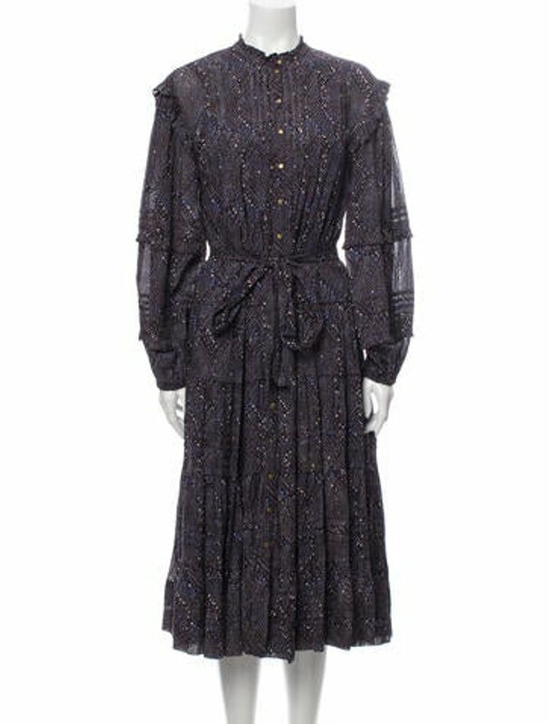 Thumbnail for your product : Ulla Johnson Printed Midi Length Dress w/ Tags Blue