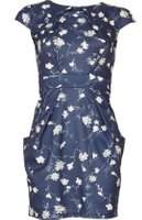 Dorothy Perkins Womens *Blue Vanilla Navy Floral Tulip Dress