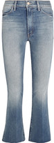 Mother The Hustler Distressed Cropped High-rise Flared Jeans - Mid denim
