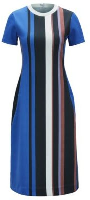HUGO BOSS Short Sleeved Dress In Stretch Jersey With Printed Stripes - Patterned