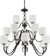 Quoizel Downtown Chandelier in Dusk Bronze with Linen Shade