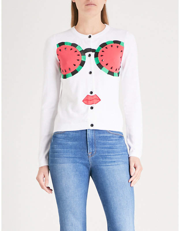 Alice + Olivia Alice & Olivia Ruthy watermelon-embroidered knitted cardigan