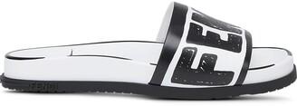 Fendi Logo-Print Slide Sandals