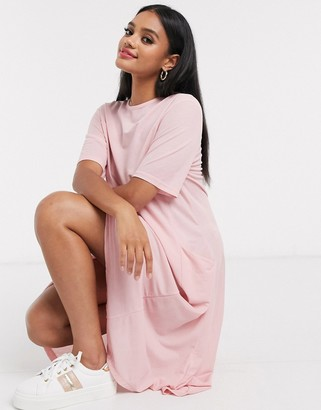 Qed London smock dress with pockets in pink