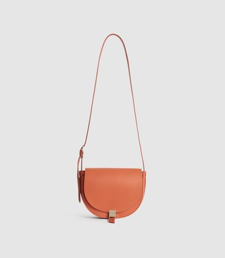 Reiss Hurlingham Mini - Leather Cross Body Bag in Orange