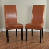 Monsoon Villa Faux Leather Worn Brown Dining Chairs (Set of 2)
