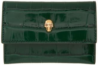 Alexander McQueen Green Croc Skull Envelope Card Holder