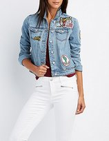 Charlotte Russe Refuge Patched Denim Jacket