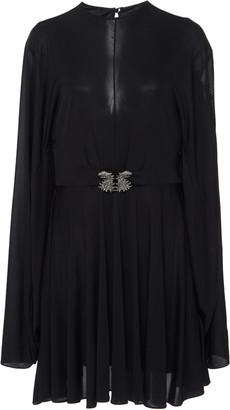Valentino Belted Cape-Effect Chiffon Mini Dress