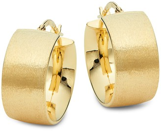 Saks Fifth Avenue Made In Italy 14K Yellow Gold Wide Tube Hoop Earrings