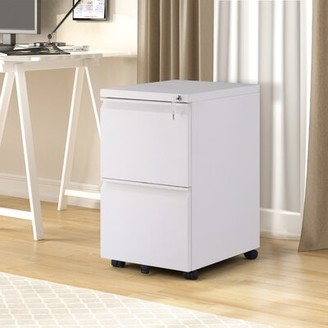 Inbox Zero 2-Drawer Mobile Vertical Filing Cabinet Color: White