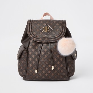 River Island Girls Brown RIR monogram backpack