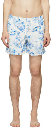 Bather Blue and White Toile Swim Shorts