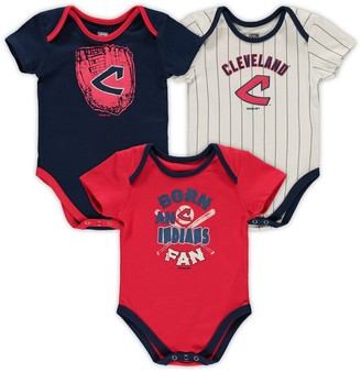 Outerstuff Infant Navy/Red/Cream Cleveland Indians Future Number One Creeper Three-Pack