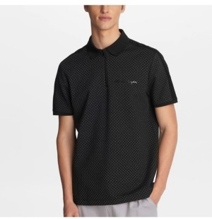 Karl Lagerfeld Paris Men's Stretch Viscose Blend Diamond Print Polo T-shirt with Logo