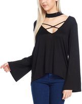 Bellino Black Criss-Cross Bell-Sleeve Top