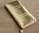 Kellett Zipper Clutch in metallic gold