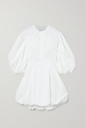 Bassike Gathered Cotton-poplin Mini Dress - White
