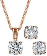 Charter Club Rose Gold-Tone Cubic Zirconia Pendant Necklace and Earrings Set, Only at Macy's