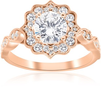 Pompeii3 14k Rose Gold 1 3/8 ct TDW Diamond Clarity Enhanced Vintage Halo Engagement Ring