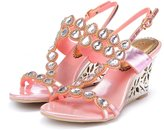 Monie Women's Bling Crystal Everning Dress Sandals Handmade Strappy Wedges with Unique Heel 9B US