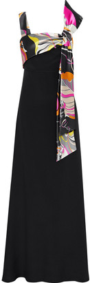 Emilio Pucci Printed Satin-paneled Silk Crepe De Chine Gown