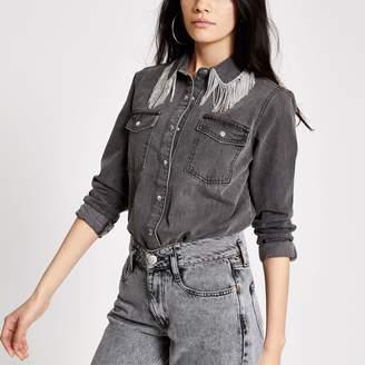 River Island Womens Grey diamante fringe denim shirt