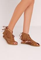 Missguided Tassel Peep Toe Lace Up Flat Sandal Tan
