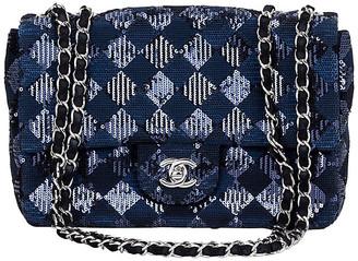 One Kings Lane Vintage Chanel Navy & Black Sequin Evening Bag - Vintage Lux