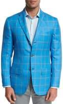 Kiton Large Plaid Three-Button Sport Coat, Blue