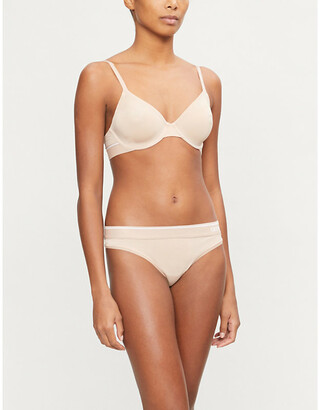 Calvin Klein Logo-trim underwired stretch-jersey plunge bra