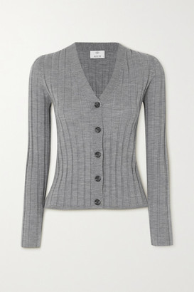 Allude Ribbed Wool Cardigan - Gray