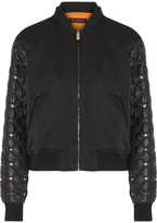 Versace Cotton-blend And Embellished Shell Bomber Jacket - Black