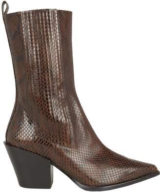 Aeyde Ari Snake-Embossed Boots
